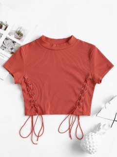 Cropped Strick Lace Up Ribbed Top - Leichte Koralle S
