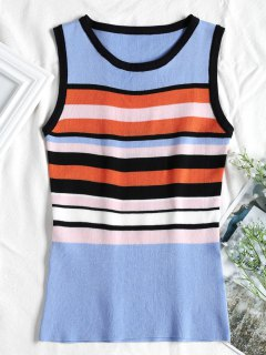 Bold Striped Knitted Tank Top - Multi