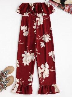 Cropped Blumendruck Rüschen Strapless Jumpsuit - Roter Wein S