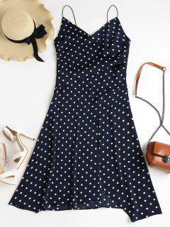 Polka Dot Midi Slit Dress - Midnight Blue S