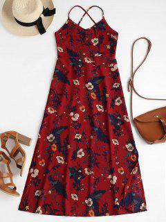 Vestido Cami De Estampado Floral Sin Espalda - Vino Tinto M