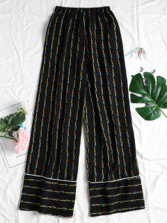Geometric Pattern Wide Leg Pants - Black M