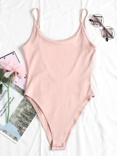 Cami Snap Knopf Oben Rückenfreier Bodysuit - Rosa Kaugummi S
