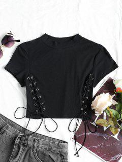 Lace Up Cropped Ribbed Top - Black S