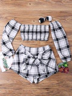 Tartan Plaid Crop Top And Shorts Set - White Grey M