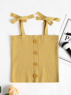 Knitted Button Up Tank Top - Sun Yellow