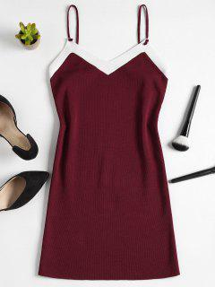 Knitted Two Tone Mini Dress - Red Wine