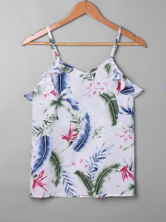 Tropical Leaf Print Falbala Trim Tank Top - White S