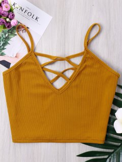 Criss Cross Ribbed Cami Crop Top - Orange Gold M
