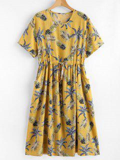 Robe Imprimée Ananas à Cordon De Serrage - #ede275
