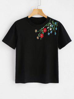 Camiseta Bordada Floral Básica - Negro M