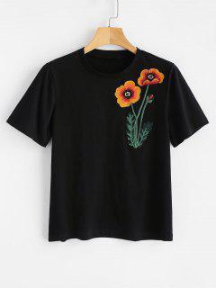 Camiseta Bordada Floral Cómoda - Negro L