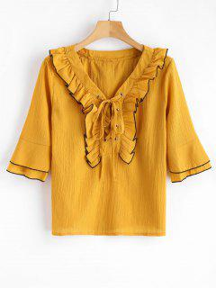 Blusa Con Cordones Con Volantes - Amarillo Brillante