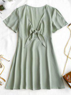 High Waisted Tied Front Dress - Frog Green S