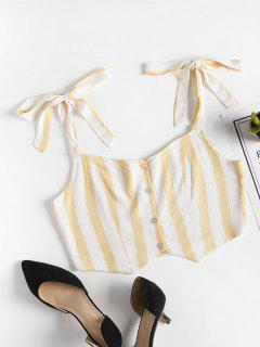 Stripes Button Up Tank Top - Cornsilk S