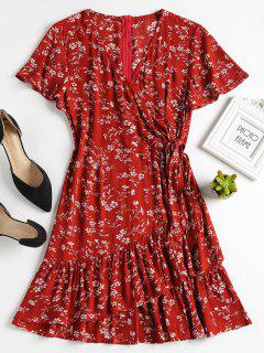 Knotted Ruffles Floral A Line Dress - Cherry Red M