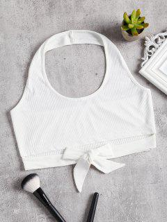 Halter Knotted Cutout Tank Top - White S
