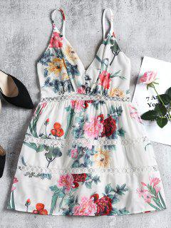 Floral Eyelet Shirred Mini Dress - White S
