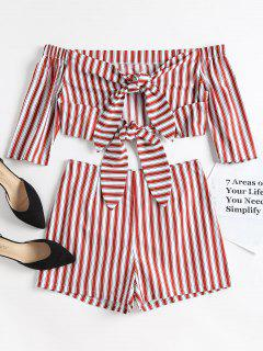 Striped Off Shoulder Top And Shorts Set - Red Wine L