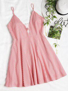 Striped Cut Out Cami Dress - Bean Red M