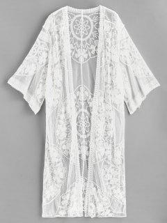 Embroidered Mesh Kimono - White