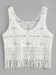 Fringe Crochet Tank Top - Blanco
