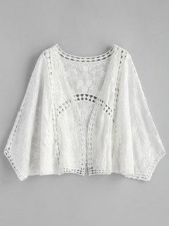 Hollow Out Embroidered Kimono - White