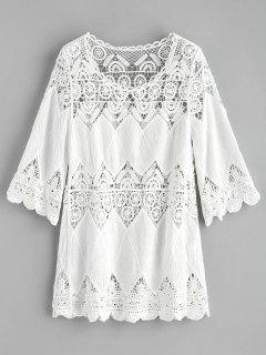 Robe De Plage à Empiècements Au Crochet - Blanc