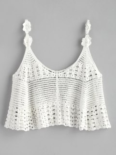 Cropped Crochet Tank Top - White
