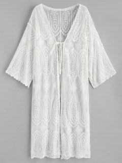 Self-tie Embroidered Sheer Kimono - White