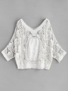 Batwing Crochet Top - Blanco