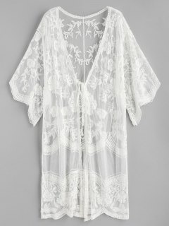 Schnürung Blumen Bestickt Gaze Kimono - Weiß
