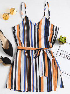 Stripes Wrap Mini Dress - Multi M