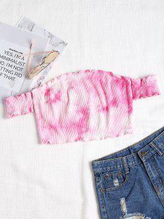 Weg Von Der Schulter Tie Dye Gestrickt Tee - Pink L