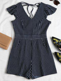 Striped Cap Sleeve Romper - Midnight Blue M