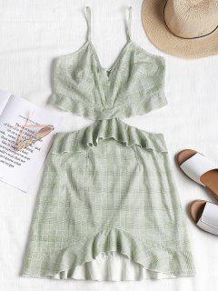 Ruffles Plaid Cami Dress - Light Jade S