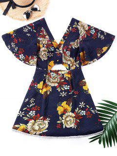 Kimono Floral Print Cut Out Dress - L