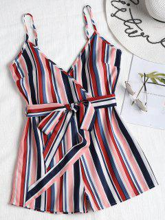 Belted Striped Cami Romper - Multi M