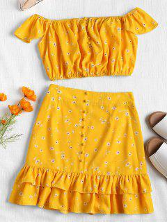 Floral Off Shoulder Two Piece Skirt Set - Yellow L