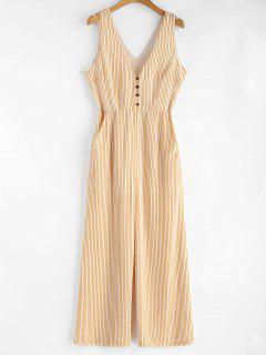 Low Cut Striped Sleeveless Jumpsuit - Bright Yellow S