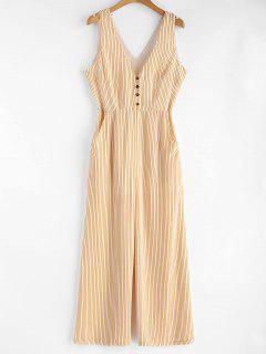 Low Cut Striped Sleeveless Jumpsuit - Bright Yellow L
