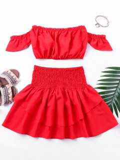 Flounced Top With Smocked Skirt - Red Xl