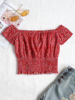 Blusa De Estampado De Flores Smocked - Rojo L