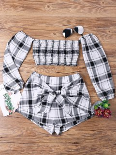 Tartan Plaid Crop Top And Shorts Set - White Grey Xl