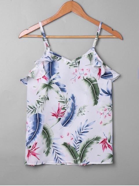 Falbala con estampado de hojas tropicales sin mangas - Blanco S Mobile