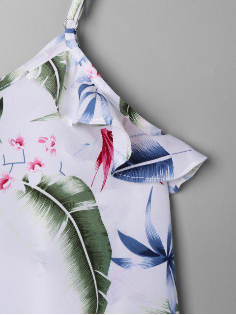 best Tropical Leaf Print Falbala Trim Tank Top - WHITE XL Mobile