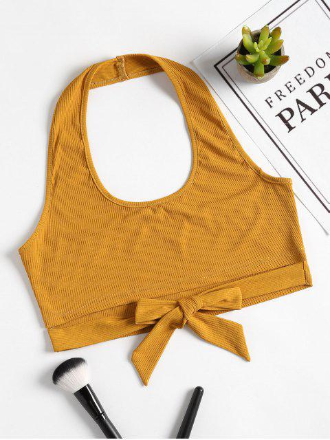women's Halter Knotted Cutout Tank Top - GOLDEN BROWN L Mobile