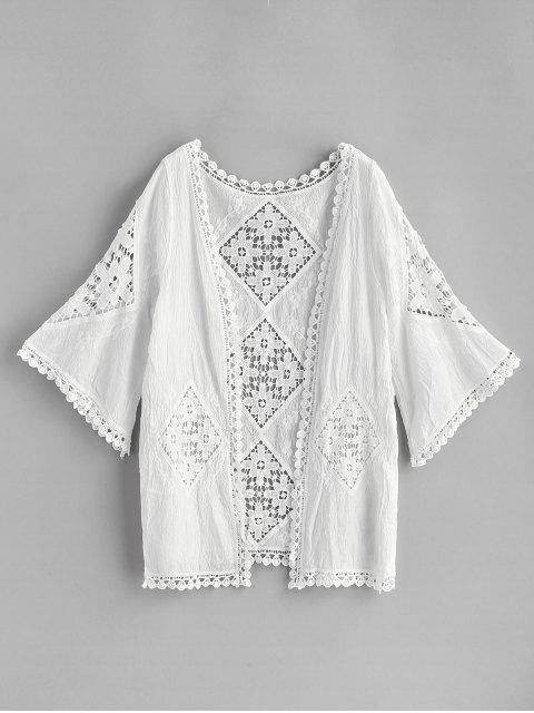 unique Crochet Panel Kimono - WHITE ONE SIZE Mobile