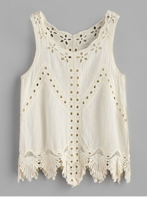 sale Scalloped Hem Eyelet Tank Top - WARM WHITE ONE SIZE Mobile