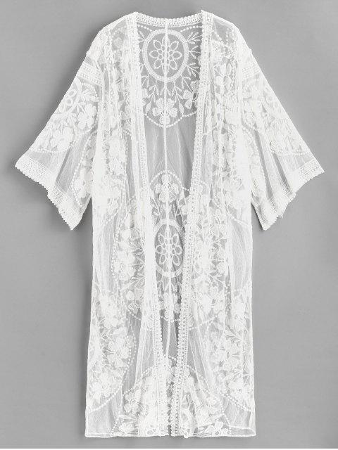buy Embroidered Mesh Kimono - WHITE ONE SIZE Mobile